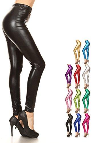 Leggings Depot Liquid Wet Look Shiny Metallic High Waist Stretch Leggings (Large, Black) for $<!--$11.99-->