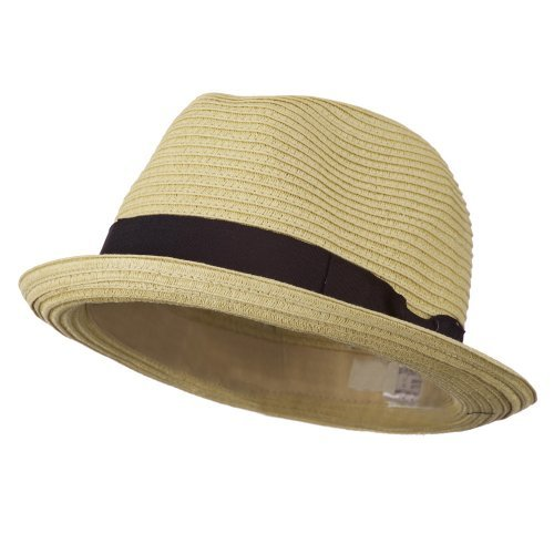 Toyo Paper Straw Fedora Hat - Tan 58CM