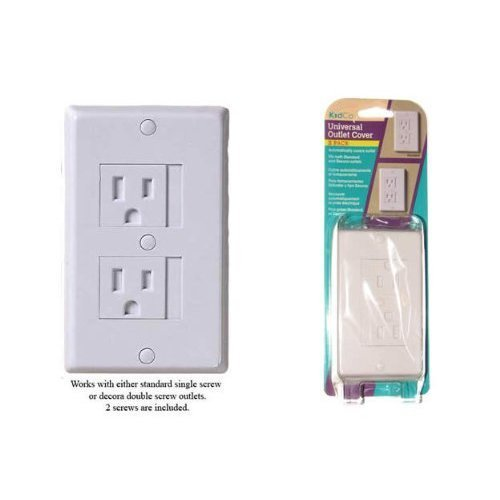 Kidco Universal Outlet Covers in White - TWELVE (12) Pack - Works with Standard Single or Decora Double Screw Outlet