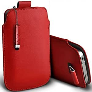 Cerhinu Shelfone Stylish Protective Leather Pull Tab Skin Case Cover For Samsung S5750 Wave575 S Includes Stylus Pen Red...