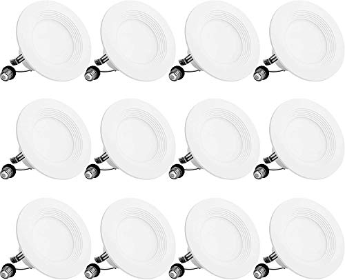 BBounder LED Recessed Lighting 4 Inch 12Pack, Dimmable, Damp Rated, LED Downlight with Baffle Trim, 9W=60W 650LM 3000K…