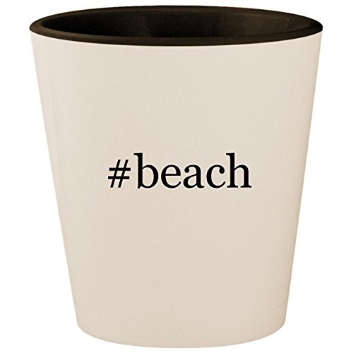 #beach - Hashtag White Outer & Black Inner Ceramic 1.5oz Shot -