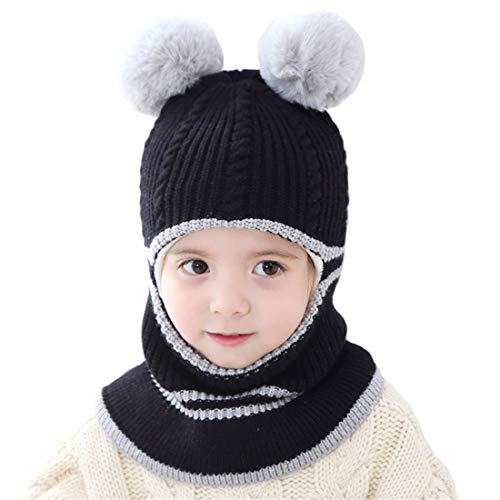 Kids Winter Hat, Baby Knit Hat, Baby Girls Boys Winter Hat, Thick Scarf Earflap Hood Scarves Skull Caps, 1-5 Years Kids (Bear Black) (Face Ski Boys Toddler Mask)