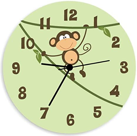 Amazon Com Kid O Design Studio Monkey Wall Clock For Children Bedroom Nursery Wall Art For Boys And Girls With Green Background Home Kitchen