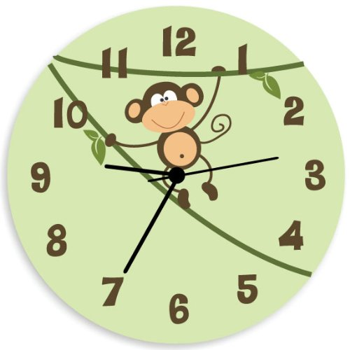 Amazon com  Monkey Wall Clock for Children Bedroom  Nursery Wall Art for  Boys and Girls with Green Background  Home   Kitchen. Amazon com  Monkey Wall Clock for Children Bedroom  Nursery Wall