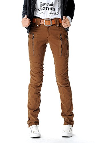 AUSZOSLT Women's Double Zipper Combat Cargo Cotton Military Trousers Skinny Pants Jeans Coffee -