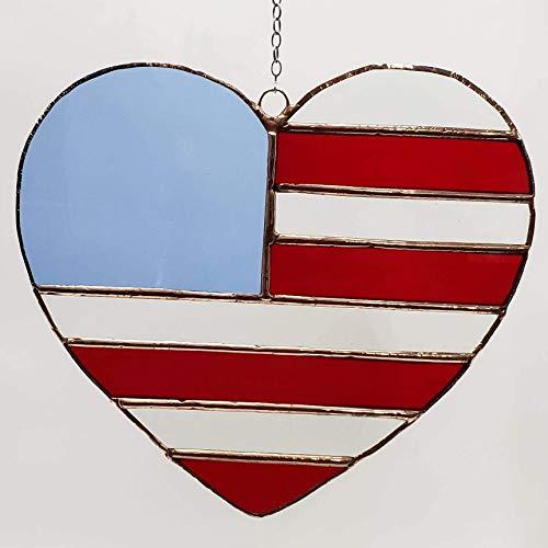 (Handmade Stained Glass Large Patriotic US Flag Heart Suncatcher Ornament)