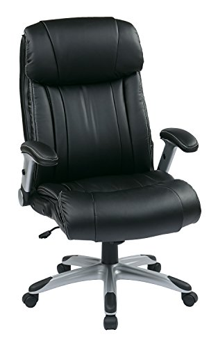 Office Star High Back Bonded Leather Executives Chair with Padded Flip Arms and Silver Coated Accents, Black For Sale