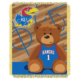 (The Northwest Company Officially Licensed NCAA Kansas Jayhawks Half Court Woven Jacquard Baby Throw Blanket, 36