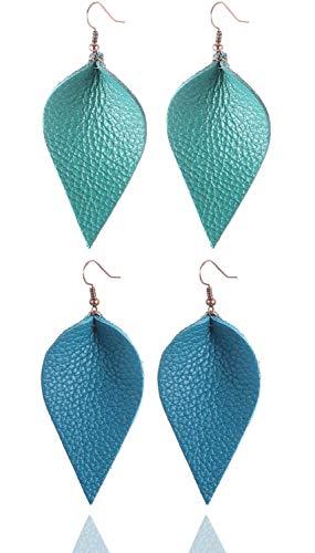 Turquoise Blue Light Blue Green Dark Blue Tea Color Leather Leaf Teardrop Earrings