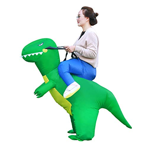 Linsion T-Rex Costume Inflatable Dinosaur Suit Halloween Dino Theme Party Dress Blow Up Costume Adult/Child (Adult Green)