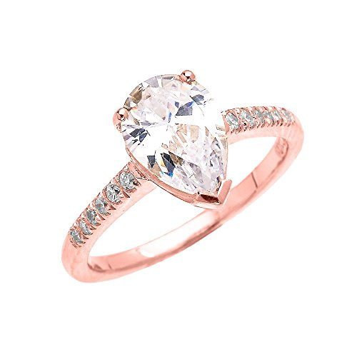 10k Rose Gold 3 Carat CZ Pear Shape Proposal Engagement Ring(Size 7)