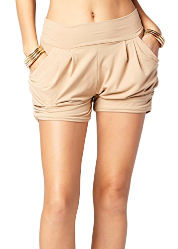 (Premium Ultra Soft Harem High Waisted Shorts for Women with Pockets - Solid - Beige Khaki - Small/Medium (0-10))