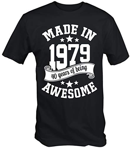 6TN Men's Made in 1979 40 Years of Being Awesome 40th Birthday T Shirt (Medium, -