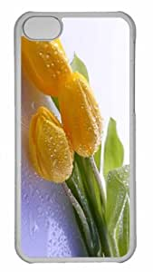 Customized iphone 5C PC Transparent Case - Dew On Yellow Tulips Personalized Cover
