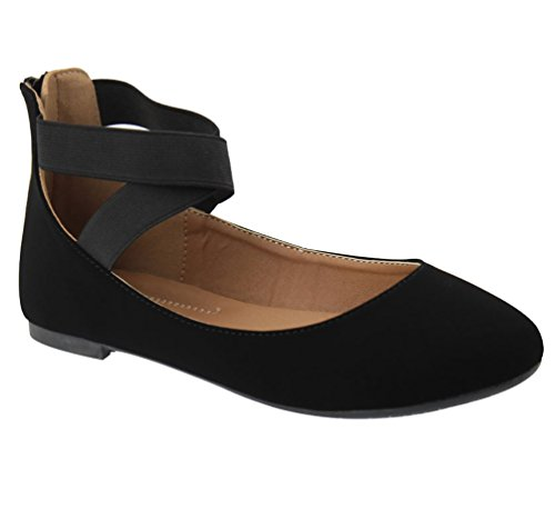 Women's Black Flats Ballerina Crossing 20 Dana Nubuck Straps ANNA Classic Elastic aEqxw6TSz