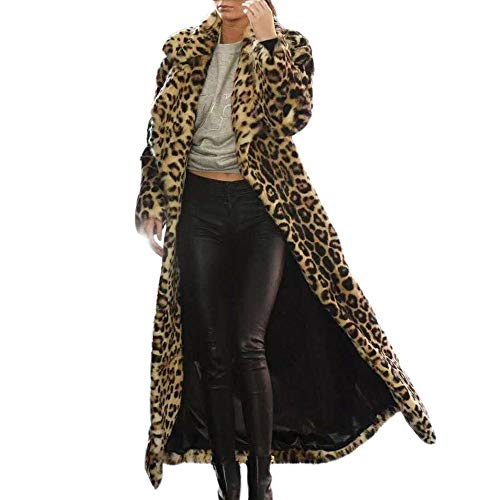 Sttech1 Long Sleeve Leopard Print Long Faux Fur Plush Coat Jacket Outwear