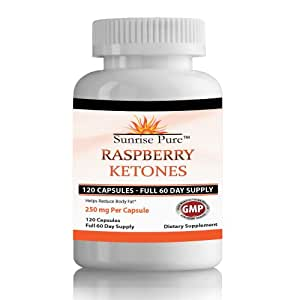 RASPBERRY KETONES PURE   Qty 120, 250mg Capsules   Full 60-Day Supply   Recommended for Weight Loss Pills   Great Reviews   SUNRISE PURE MONEY BACK GUARANTEE