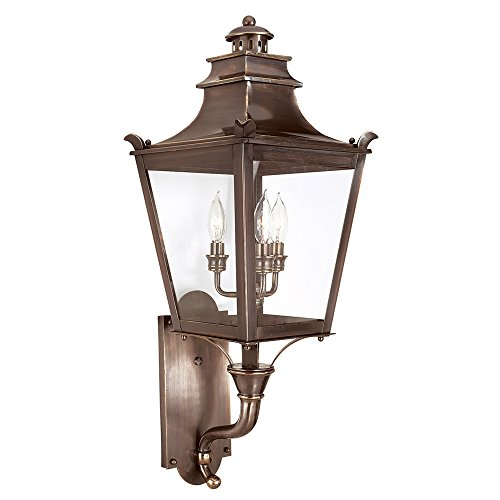 Troy Lighting Dorchester 3-Light Outdoor Wall Lantern - English Bronze Finish with Clear Glass (Dorchester Glass)