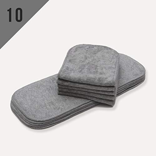 10/Pack Mom Label One Size Bamboo Charcoal Inserts (NO Microfiber OR Fleece),Reusable Liners for Baby Cloth Diapers Good Absorption Washable- for Pocket Diapers or Cover