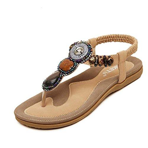 Ouneed Summer Women Sandals Fashion Sweet Beaded Clip Toe Flats Bohemian Herringbone Sandals Khaki R3e3FRLHc