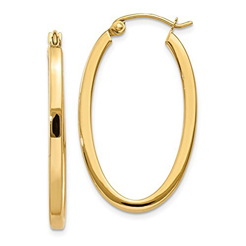 (Medium 14k Yellow Gold Oval Hoop Earrings with Square Tube, 31mm)