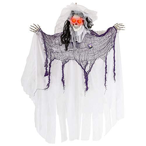 Halloween Haunters Animated Hanging Jumping Moving Forward Ghost Skeleton Bride Skull Reaper Prop Decoration - 3 Cackle Sound Phrases, LED Light Up Eyes, 3 Feet, Haunted House Graveyard Party Entryway