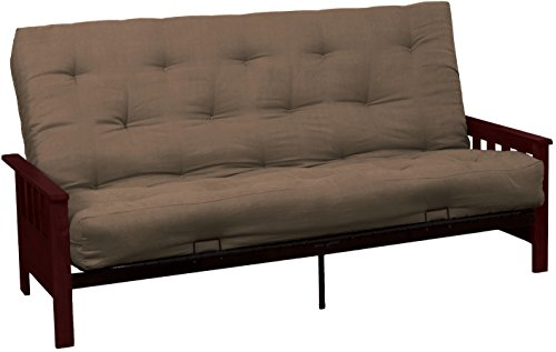 Epic Furnishings Berkeley 10-inch Loft Inner Spring Futon Sofa Sleeper Bed, Queen-size, Mahogany Arm Finish, Microfiber Suede Mocha Brown Upholstery