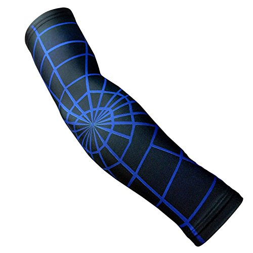 Nexxgen Sports Apparel Compression Arm Sleeve (Single)- 40 Styles and Colors- Men, Women, Youth - Basketball Shooter, Football, Baseball, Lymphedema, Tattoo (X-Large, Blue Spiderweb) -