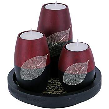 Baimai Tea Light Candle Holder Set of 3 with Real Leaf Decorative Candle Holders, Wood Tray