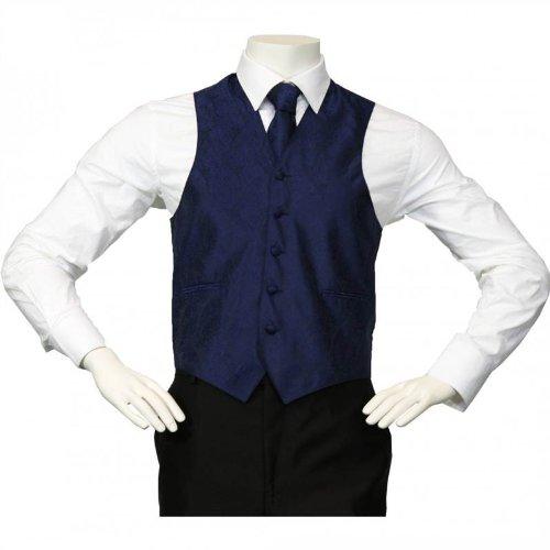 Amanti - Men's 4pc Set Paisley Tuxedo Vest - Navy, (Colored Tuxedo Vests)