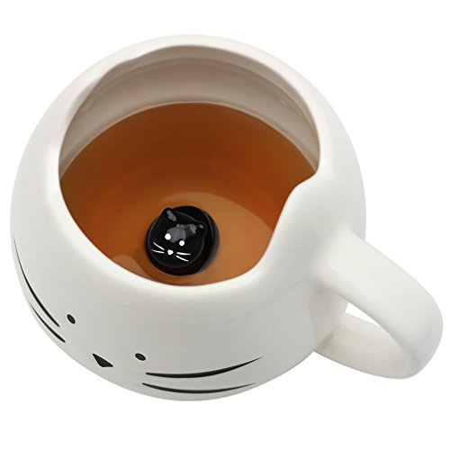 Koolkatkoo Cat Coffee Mug for Women Girls Cute Ceramic Meow Mugs for Cat Lover Tea Cup 12 oz White