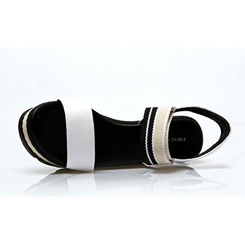 De White Zapatos Mujer Simples Sandalias para Y Zapatos Plataforma De Blancas Tacón Plataforma Cuña Negras Sandalias De Cuero De De Sandalias Rojas Plataforma Alto De wqSOOa