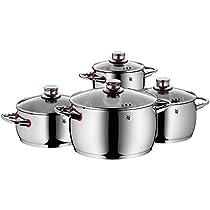 WMF Quality One - Batería de Cocina, 4 Piezas, Cacerola con Tapa 20 cm (3.4 l), 3 ollas bajas 16 cm (2 l), 20 cm (4.1 l) y 24 cm (6.8 l) con Tapa