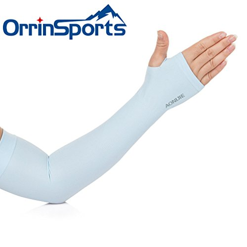 OrrinSports Unisex UV Protection Elastic Compression Arm Sleeves with Thumb Holes for Outdoor Sports - Eyeglasses Own Create Your