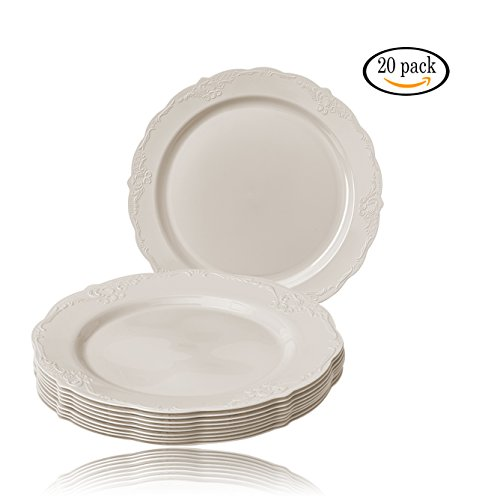 (DISPOSABLE DINNERWARE SET, 20 Dessert Plates (Vintage Cream - 7.5