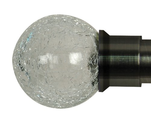 Home Décor Int'l Crackle Glass Ball Finial for Window, Brushed Black Nickel, Set of 2