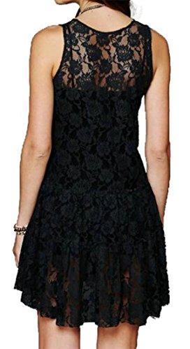 Dentelle Cromoncent Des Femmes Manches Creux Col Rond Coupe Ample Balançoire Mini-robe Noire