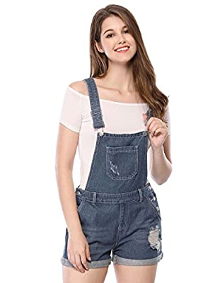 Allegra K Women's Shortalls Ripped Floded Hem Denim Jean Shorts Overall