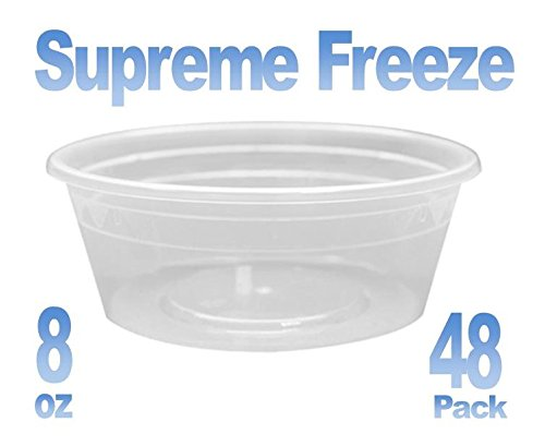 Simply Home USA Supreme Freeze Deli Food Containers with Lids,8 Ounces,48 Pack …
