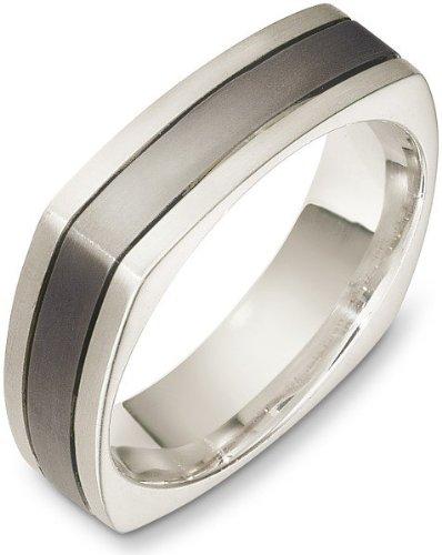 - 6mm 18 Karat White Gold & Titanium Square Wedding Band Ring - 4