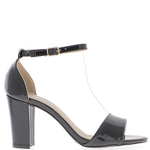 Sandales noires à talon carré de 8,5cm vernies