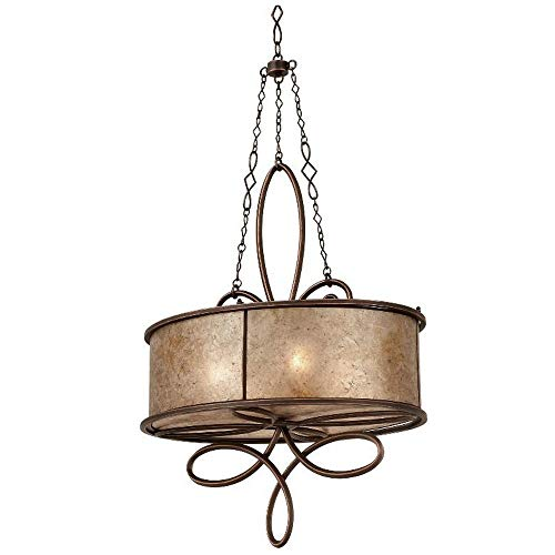 (Kalco 6579AC Whitfield - Four Light Oval Chandelier Without Scroll, Antique Copper Finish with Stained Champagne Mica Shade )