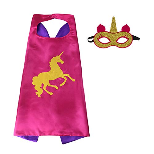 HugeHug Cartoon Unicorn Double-Sided Satin Capes and Masks Set Dress Up Cosplay Costumes Christmas Halloween Birthday Party for Girls Boys Kids Toys -