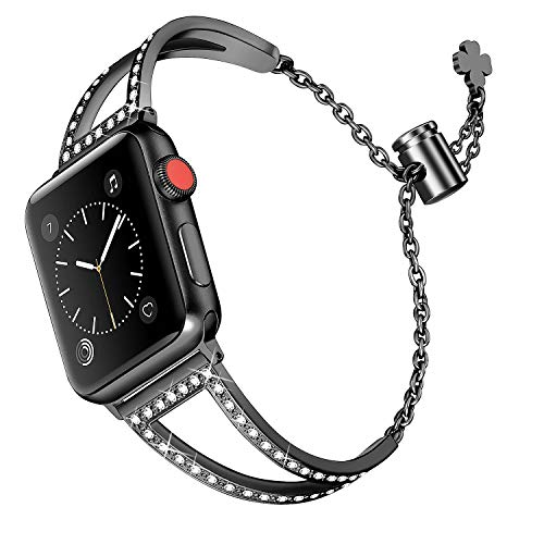 Secbolt Bling Bands Compatible Apple Watch Band 42mm 44mm Iwatch Series 4/3/2/1, Women Stainless Steel Metal Dress Jewelry Bracelet Bangle Wristband, Black