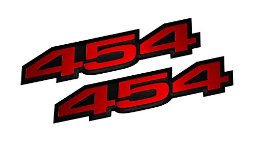 Chevy Chevelle 454 - 2x (pair/set) VMS Racing 454 RED on BLACK Highly Polished Aluminum EMBLEMS