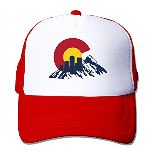 Flag Of Colorado Rocky And Skyline Red Mesh Unisex Adult-one Size Snapback Trucker Hats