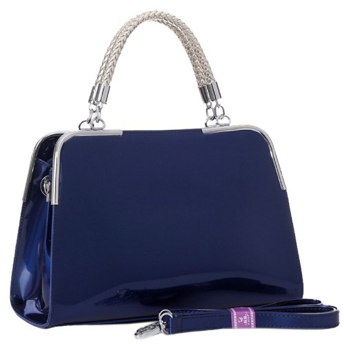 MG Collection Matana Faux Patent Leather Doctor Tote Purse, Navy Blue, One Size