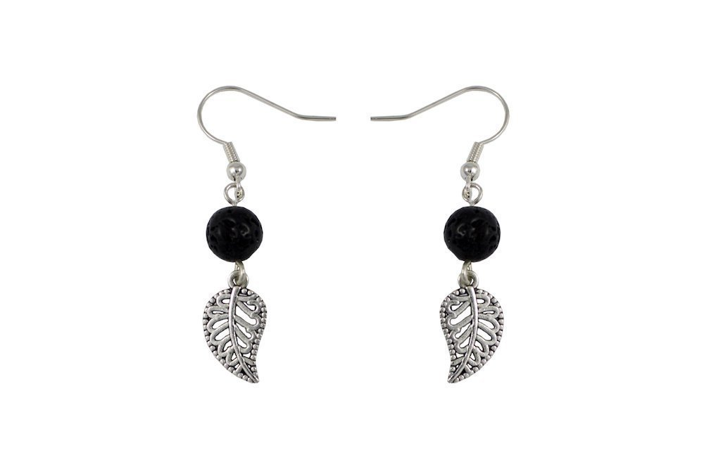 Diffuser Earrings, Black Volcanic Lava Bead and Small Silver Tone Leaf, Unique Aromatherapy Jewelry