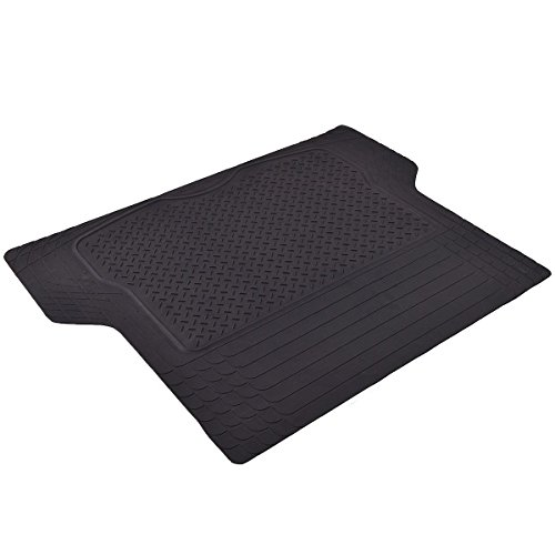 Goplus Black HeavyDuty Rubber Cargo Liner Floor Mat - All Weather Trunk Protection PVC Universal Cars SUV Van -